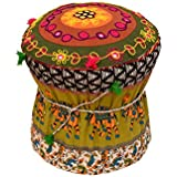 Rang Barse Cotton Rajasthani Handmade Patchwork Stool (Multicolour, 25x25x40inches)