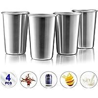 Taza de acero inoxidable de 17 oz/500ml (Paquete de 4) Vasos Copas de Metal Tumbler Apilables Premium