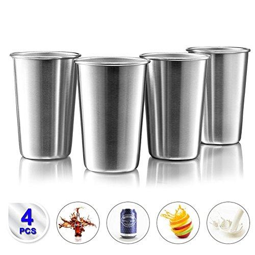 Edelstahl becher 17 Unzen/ 500ml (4er Set) Premium Stapelbare EdelstahlTasse Metall Pint Trinkbecher für Kinder