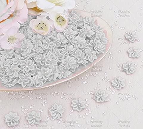 White 25mm Satin Ribbon Flowers with Rhinestone Diamante Centre, Craft Flowers (50)