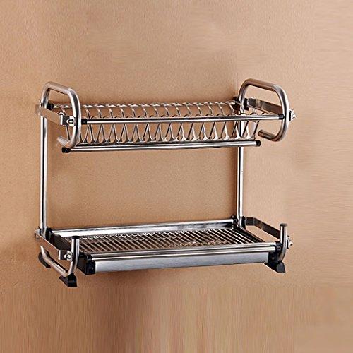 BOBE SHOP- Étagère multifonctionnelle de cuisine fixée au mur ou placée - doubles couches Étagère / étagère de drain d'acier inoxydable / égouttoir / support de couteau / étagère de tasse ( Couleur : Without knife holder , taille : 47*25*39cm )