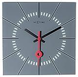 NEXTIME Orologio da Parete Stazione, Molto Silenzioso, Quadrato, in Vetro, Grigio, 35x 35cm