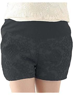Shorts minces occasionnels de maternité - Shorts de dentelle élastiques élégants de ventre de soin de ceinture