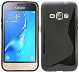 Samsung Galaxy J1 ( 2016 ) // Silikon Hülle Schutz Cover Case Etui Bumper Zubehör in Schwarz @ Energmix