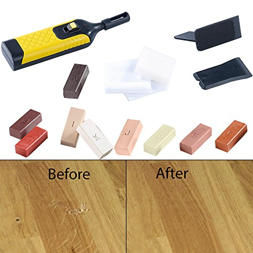 Safekom 19pcs Laminate Floor Worktop Furniture Repair Tool Kit Wax