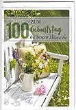 Geburtstagskarte zum 100. Geburtstag - Bank mit Blumen