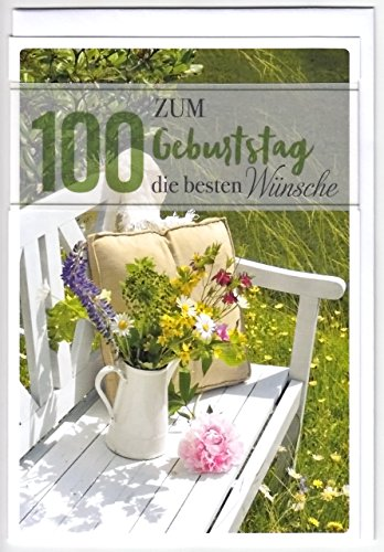 Geburtstagskarte zum 100. Geburtstag - Bank mit Blumen -