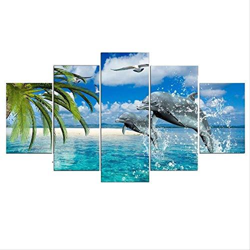 DGGDVP 5 stück Foto von Delfinen Spielen Im Wasser Wandbilder für Wohnzimmer Anime Poster Malerei Bilder größe 2 kein Rahmen
