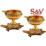 S&V-KUBER Diya With Stand, Handmade Indian Puja Brass Oil Lamp - Kuber Diya Lamp Engraved Design Dia With Turtle Base