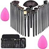 MISS & MAM Professional Wood Make Up Brushes Sets With Leather Storage Pouch