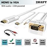 HDMI auf VGA Kabel mit Audio 2M, FOINNEX HDMI zu VGA Adapter Konverter zum Anschluss von PC, Laptop, Xbox 360 One, PS4/PS3,Nintendo Switch,Blu-ray Player,TV-Box zu TV, Monitor, Projektor,1080P