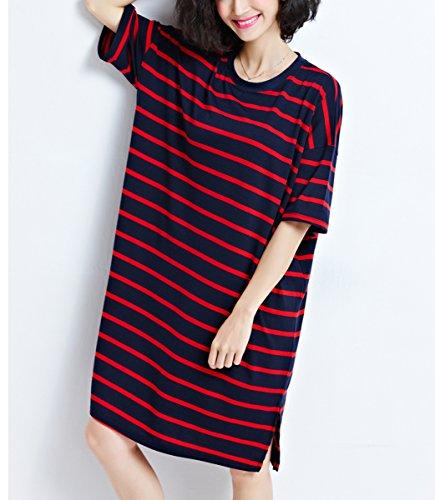 ELLAZHU Damen Sommer Übergröße Lange Gestreifte Shirt Kleider GA644 Rot