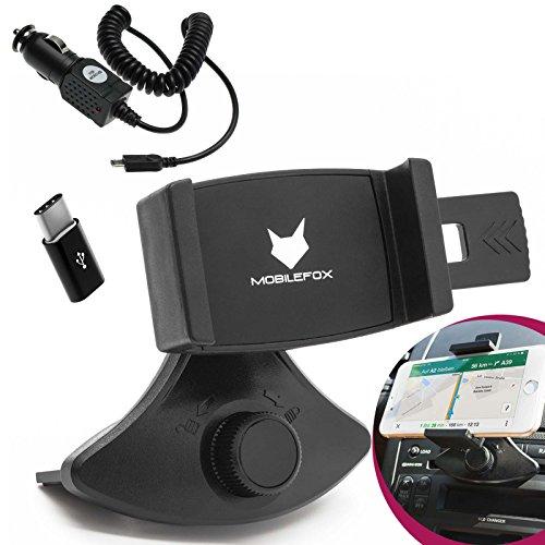 mobilefox® 360° 2in1 Set KFZ Handy Halterung CD Schlitz Slot Halter + Type-C Ladekabel für Samsung Galaxy S9 S8 Plus Note 8 A3 A5 (2017)