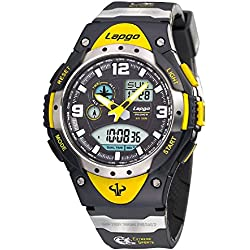 Farsler Men's 100 Meters Waterproof Outdoor Running Countdown Calendar Sports Watches Alarm Clock Luminous Large dial Electronic Quartz Wrist Watches (Yellow Color)