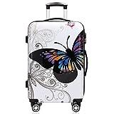 Monzana® Reisekoffer Hartschalenkoffer Butterfly Trolley Koffer ✔ABS-Kunststoff ✔PC beschichtet ✔Alu Teleskopgriff ✔gummierte Zwillingsrollen ✔Größe L
