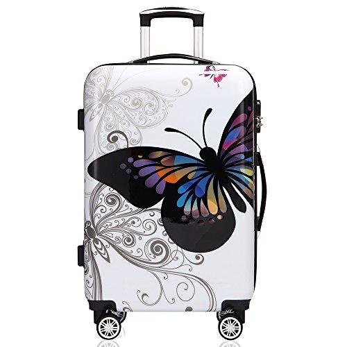 Monzana Reisekoffer Hartschalenkoffer Butterfly Trolley Koffer ABS-Kunststoff PC beschichtet Alu Teleskopgriff gummierte Zwillingsrollen Größe L