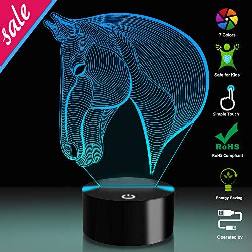 Pferdekopf 3D Optische Täuschung Lampe, USB-Stromversorgung 7 Farben Blinken Berührungsschalter Schreibtisch LED Nachtlicht für Kinder Schlafzimmer Dekoration