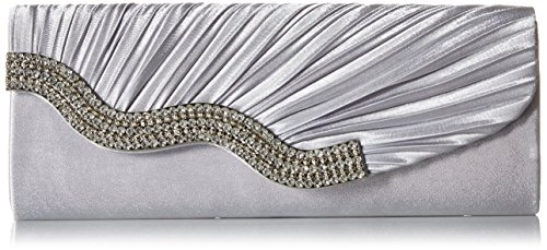 KISS GOLD Elegante funkelnde Strass Plissee Satin Clutch Abendtasche, Silber (Handle Bag Square Top)