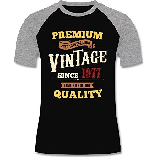 Geburtstag - 40. Geburtstag Vintage 1977 - zweifarbiges Baseballshirt für Männer Schwarz/Grau Meliert