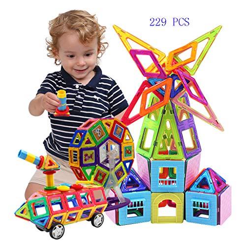 229 PCS Magnetische Holzbausteine Bauklötze Bauspielzeug Kinder Pädagogisches Gebäude Spielzeug Bausteine - Geschenk Für Jungen Und ()