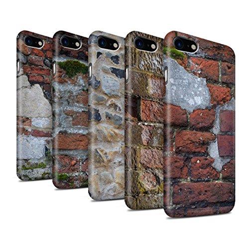 STUFF4 Matte Snap-On Hülle / Case für Apple iPhone 8 / Blass/Weiß Muster / Mauerwerk Kollektion Pack 11pcs