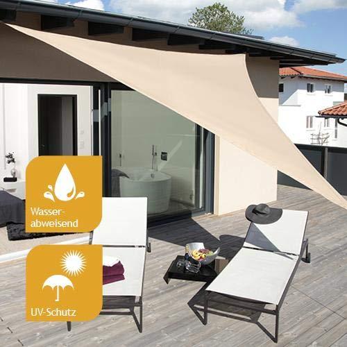 Sonnensegel aus Segelstoff Premium inkl. Befestigungsmaterial 3,6m Dreiecksegel, taupe