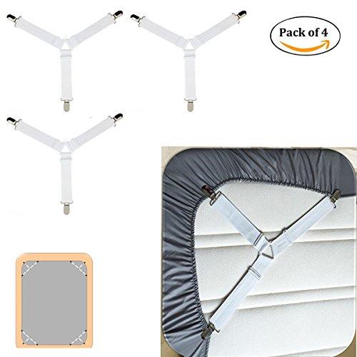 confezione da 4 lenzuola Conner triangolo clip, lenzuolo Holder cinghie, chiusura regolabile lenzuolo, 3 vie materasso di supporto fissaggio il triangolo lenzuolo clip detentore con pinze White