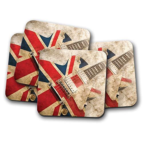 #16066 Untersetzer, Motiv: Brit Pop Rock Gitarre, 4 Stück