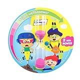 wellsamed wellsakids Zahnputzuhr, farbenfrohe Kinder Sanduhr bunt, selbstklebend rund 2 Minuten