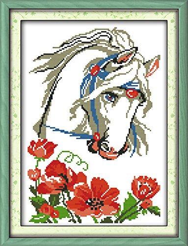 CaptainCrafts Heiß Neue Veröffentlichungen Kreuzstich Kits Muster Stickerei Kit - Charmantes Weißes Pferd (GESTEMPELT) (Gezählt Kreuzstich-muster Halloween)