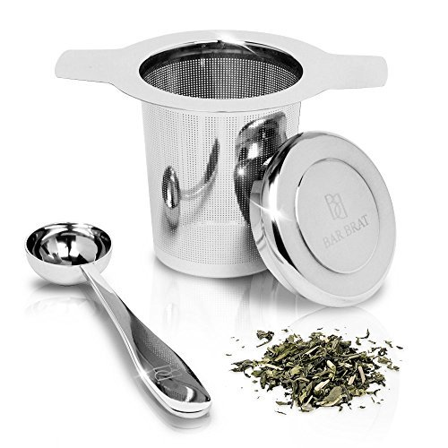 Tea Infuser Strainer + Spoon by Bar Brat / Premium Micro Filter Stainless Steel Steeper / 110 Cocktail Shaker Ebook Included by Bar Brat