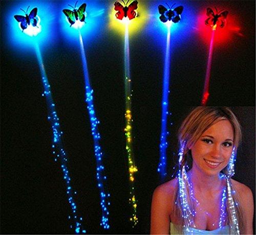 Interesting® Flash LED Haar Licht emittierende Faser Optik Pigtail Braid Zopf leuchtende Haar Perücke KTV Party Prom Supplies (Zopf-post)