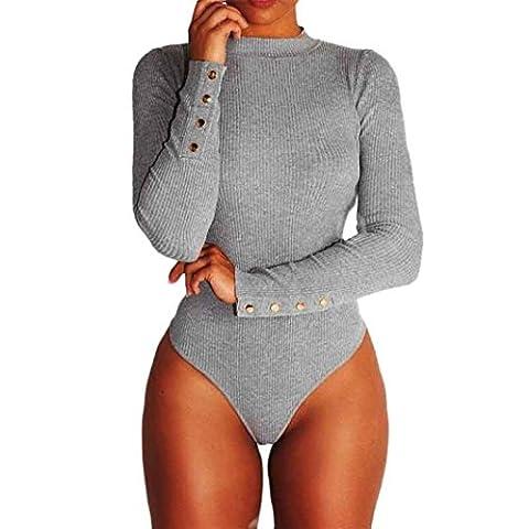 Combinaison femme Sexy col long Romper manches rondes Jumpsuit Top Chemise Shirt (XL-Buste:37.0