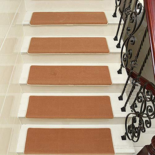 LCJTTBD stufenmatten treppen Teppich Treppenstufe Matte kleberfrei Selbstklebende Treppe Anti-Rutsch 15 Sätze Pure Camel_80 * 24 * 3 [magische Schnalle] - Camel Schnalle