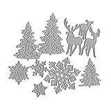 Koehope - Fustelle a Forma di Albero di Natale, Fiocco di Neve, Cervo, in Metallo, per Album di Scrapbooking