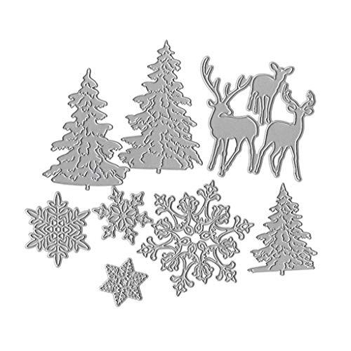 Tubicu - Plantilla de Corte de Metal con diseño de árbol de Navidad, Copo de Nieve, Ciervo, álbum de Recortes, Tarjeta de Papel, Repujado, Manualidades, decoración