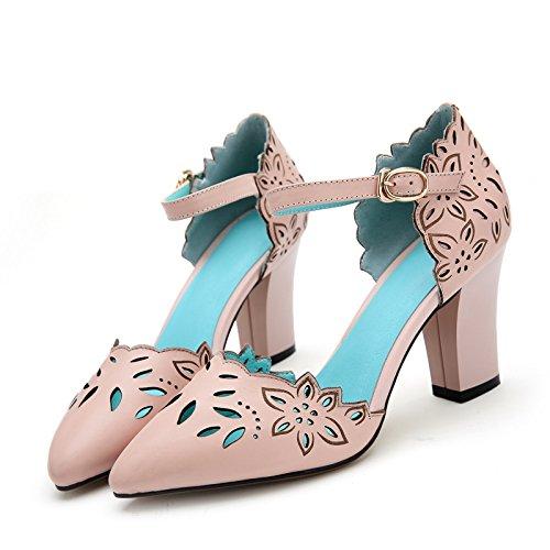 WSS chaussures à talon haut Sculpture sur cuir creux des santals de haut talon sandales mode européenne Pink