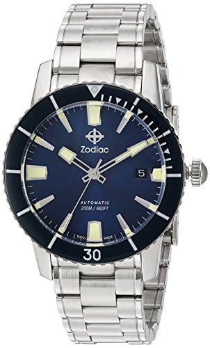 Zodiac 'Super Mar del Hombre Lobo 53Comp' Swiss automático reloj Casual acero inoxidable, color: silver-toned (modelo: zo9258)