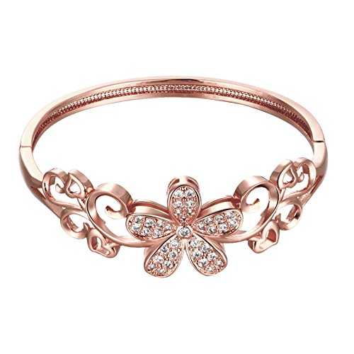 Jasmineees Schmuck Damen Armband,18 K Vergoldet Kronblatt Form mit Zirkonia Aushöhlen Armreif Mode Elegant Frauen Armbänder Armband für Damen Hochzeit Rose Gold