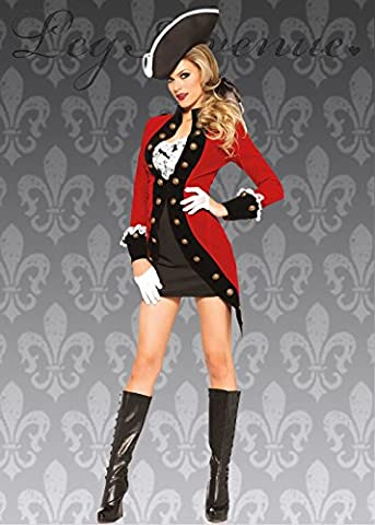 Costume de Pirate rouge pour le capitaine Crochet Style dames S (UK 8-10)