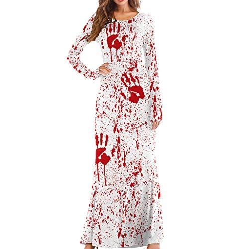 LOPILY Kleider Damen Kunstblut Druck Maxikleid Halloween Kleid Damen Gruseliger Handdruck Kleid Hexenkostüme Damen Horro Blut Kostüme für Halloween Party (Weiß, 36) (Stormtrooper Kostüm Für Hunde)