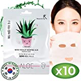 Maske Gesicht Tuchmasken Gesicht Gesichtsmaske Koreanische Tuchmasken Hautpflege mit Aloe Vera Feuchtigkeitsspendend Anti-Aging Anti-Falten-Gesichtsmaske für Tiefenhydratation Sheet Mask 10-er-Pack