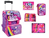 MY LITTLE PONY DISNEY ZAINO TROLLEY ESTENSIBILE SCUOLA TEMPO LIBERO SCHOOL PACK CON ASTUCCIO 3 ZIP