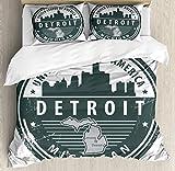 ABAKUHAUS Detroit Bettbezug Set Doppelbett, Michigan alte Briefmarke, Kuscheligform Top Qualität 3 Teiligen Bettbezug mit 2 Kissenbezüge, Weiß Schwarz Grau