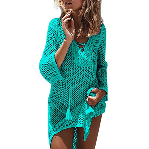 MCYs Damen Gestrickte Strandkleid Sommer Strandponcho Strandurlaub Badeanzug Bikini Cover-Ups Strand Sonnencreme Minikleid (Badeanzug Cover Ups Für Frauen)
