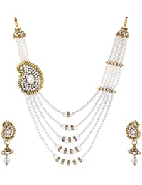 Aabhu Gold Plated Handmade White Pearl Beads Peacock Design Necklace Jewellery Set With Earring For Women And...