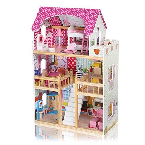 Baby Vivo Puppenhaus Rosalie aus Holz mit Zubehör