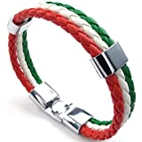 Konov Jewellery Mens Womens Leather Bracelet, Italy Flag Italian Banner Cuff Bangle, Red White Green (with Gift Bag)