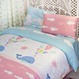 MeMoreCool Home Textile Cartoon Flying Whales 100% Cotton 3 Pieces Bedding Set Comfortable Quilt Covers for Boys and Girls Soft Bed Sheets Twin Size