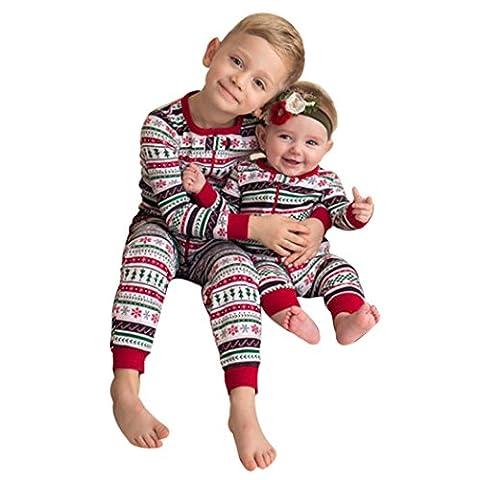 Babykleidung,Sannysis Baby Junge Romper Jumpsuit Drucken Spielanzug Overall Weihnachten Outfits 3-24Monat Bruder Kleidung 1-7Jahre (80, Rot)